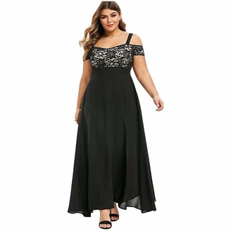Tootom Women Plus Size Cold Shoulder Floral Lace Maxi Party Evening Camis Long Dress Green