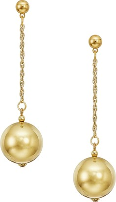 "Kenneth Jay Lane 20mm Polished Gold Ball 1.5"" Chain With Ball Top Post Earrings Polished Gold One Size"