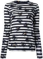 Proenza Schouler Falling Flower Print Striped T-shirt