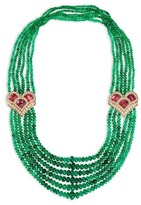 Mellerio Diamond tourmaline deco emerald necklace