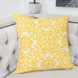 Ebern Designs Carlsbad Indoor/Outdoor Cotton Throw Pillow Color: Sunshine