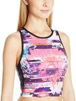Betsey Johnson Women's Racerfront Printed Colorblock Bra