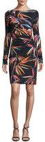 Emilio Pucci Long-Sleeve Boat-Neck Sheath Dress, Black/Multi Print