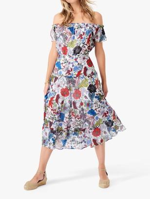 Brora Liberty Fern Botanical Print Chiffon Bardot Dress, Multi