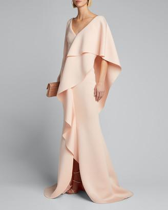 Badgley Mischka V-Neck Long-Sleeve Asymmetric Ruffle Cape Shoulder Gown
