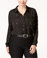 NY Collection Plus Size Embellished High-Low Blouse