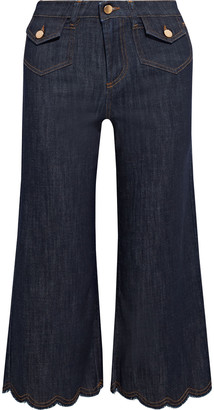 RED Valentino Cropped Scalloped Mid-rise Wide-leg Jeans