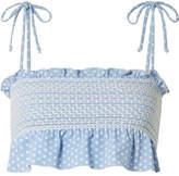 Lisa Marie Fernandez Selena Smocked Polka-dot Stretch-crepe Bikini Top - Light blue