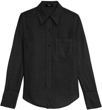 Theory Slim Collar Button-Down Blouse