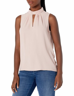 Nine West Women's Solid Woven Blouse with Collar Detailing