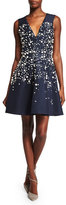 Prabal Gurung Sleeveless Embellished Fit-&-Flare Dress, Navy
