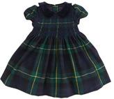 Ralph Lauren Tartan-Plaid Party Dress, Green/Navy, 3-9 Months