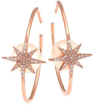 Nina Gilin 14K Rose Gold, Diamond & 5MM Pearl Star Hoop Earrings