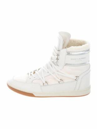 Saint Laurent Court Class Wedge Sneakers Metallic