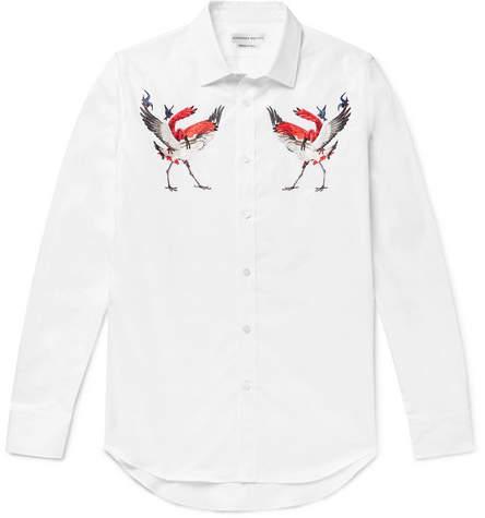 Alexander McQueen Slim-Fit Embroidered Cotton-Poplin Shirt - White