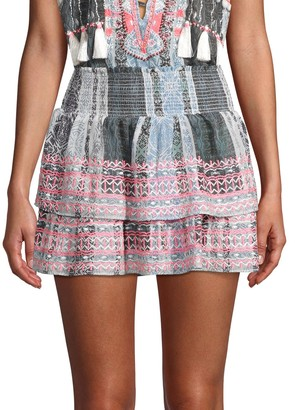 Ramy Brook Tribal-Print Shirred Tiered Skirt
