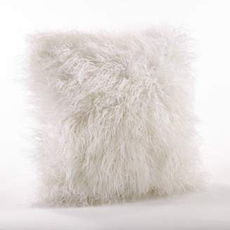 "Mid-Century MODERN Saro Lifestyle 18"" Poly Filled Faux Mongolian Fur Pillow Ivory"