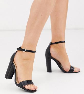 Glamorous Wide Fit black croc heeled sandals