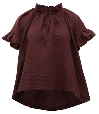 Loup Charmant Marina Ruffle-trimmed Organic-cotton Top - Dark Purple