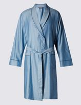 Marks and Spencer Pure Cotton Herringbone Striped Dressing Gown