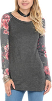 Celeste Charcoal Floral-Sleeve Scoop Neck Tunic - Plus