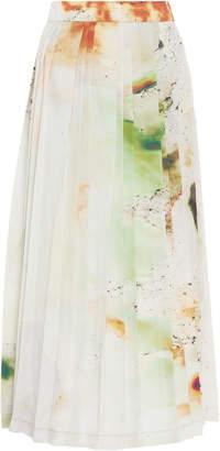 Low Classic Pleated Printed Chiffon Midi Skirt