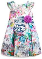 Pippa & Julie Girls' Abstract Floral Shantung Dress - Sizes 2-6