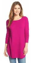 Petite Women's Halogen Shirttail Wool & Cashmere Boatneck Tunic