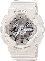 Baby-G Watch, Women's Analog-Digital White Resin Strap 43x46mm BA110-7A3