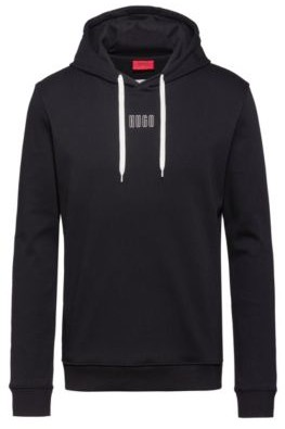 HUGO BOSS Hooded Sweatshirt In Interlock Cotton With New Season Logo - Black