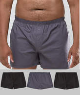 Asos Plus Woven Boxer In Monochrome 3 Pack