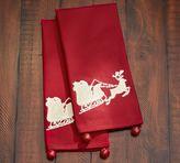 Pottery Barn Sleigh Bell Crewel Embroidered Tea Towel