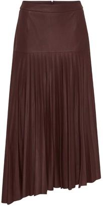 West 14th Park Avenue Pleat Skirt Shiraz Leather