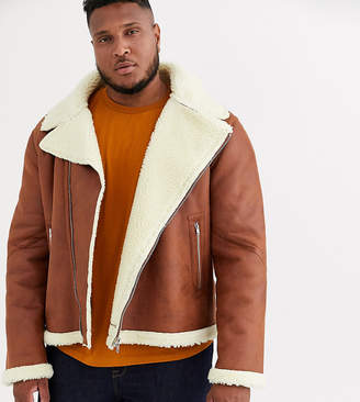 Asos Design DESIGN Plus faux shearling biker jacket with teddy lining in tan