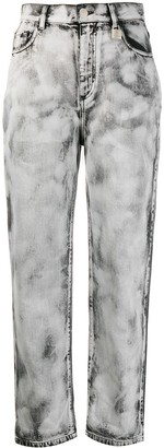 Pinko Cropped Acid Wash Jeans