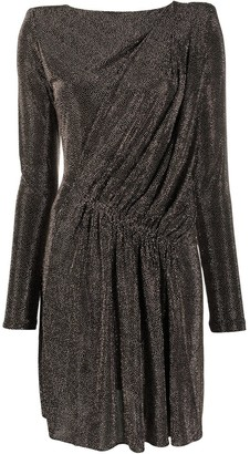 Saint Laurent Draped Metallic Padded-Shoulder Dress