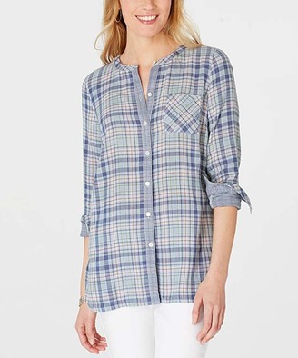 J. Jill J.Jill Women's Tunics SEAPORT - Seaport Plaid Crewneck Button-Up Tunic - Women