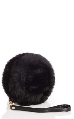 Quiz Black Faux Fur Round Bag