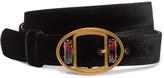 Prada Embellished Velvet Waist Belt - Black
