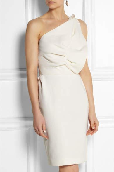Roland Mouret One-shoulder Wool-blend Dress - Cream
