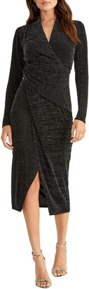 Rachel Roy Bret Long Sleeve Faux Wrap Metallic Cocktail Dress