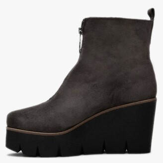 ALPE Hamal Grey Suede Zip Front Wedge Ankle Boots