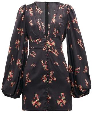 Rat & Boa - Stevie Floral-print Satin Mini Dress - Black