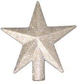 """Kurt Adler 4"""" Petite Treasures Silver Glittered Mini Star Christmas Tree Topper - Unlit"""