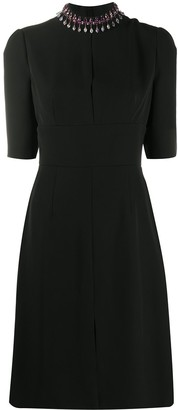 Prada Fitted Dress With Beaded Neckline