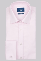 Moss Bros Slim Fit Pink Double Cuff Basket Weave Shirt