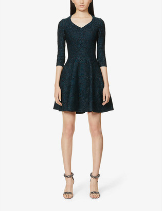 Azzedine Alaia Metallic stretch-knit mini dress