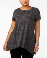 Alfani Plus Size Printed Knit-Front Tunic, Created for Macy's