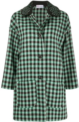 RED Valentino Embellished Check-Print Coat