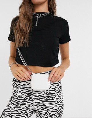 SVNX crossbody small bag with chunky chain in white